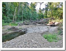 Flood debris in lower Tick Creek