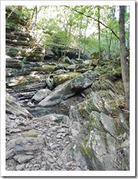 Slide block in creek bed