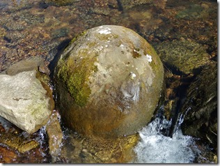 Prim boulder (cannonball concretion) in Sugar Camp Creek